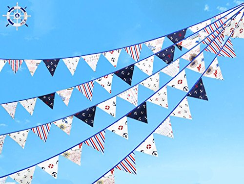 24 Pcs/23 Feet Anchor Fabric Banner,Sailor Pennant Flag,Boy Triangle Bunting,Hanging Cotton Garland for Baby Birthday Shower,Living Room,Theme Party,Nursey Decorations(Anchor).