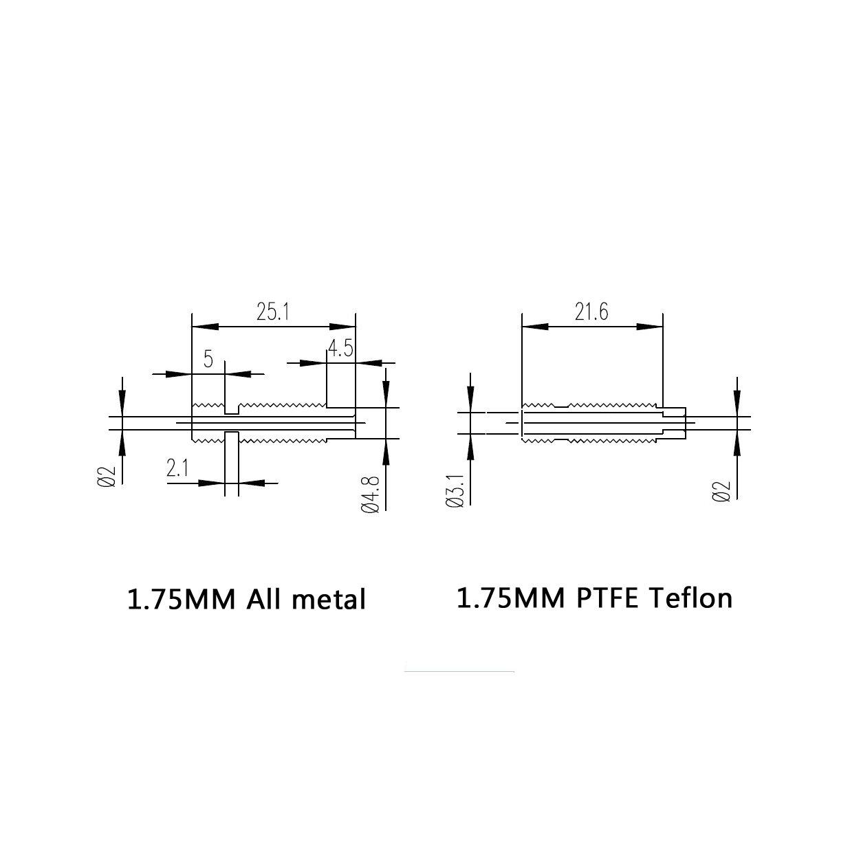 Pack of 5Pcs WINSINN V5 V6 Heatbreak Short Titanium All Metal Heat Break 1.75mm Throat M6 for 3D Printer Extruder Hotend Volcano WINSINN Technology Ltd