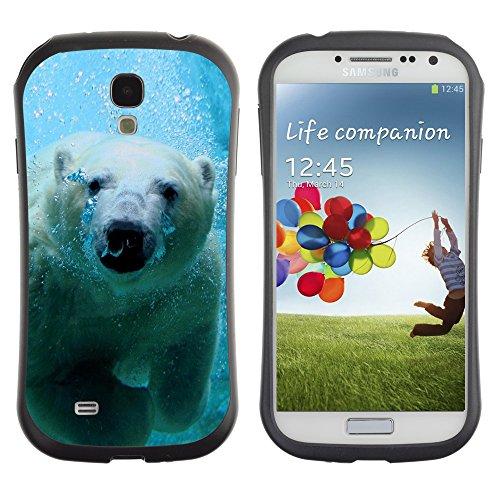 iKiki Design Hybrid Heavy Duty Shockproof Case for Samsung Galaxy S4 - Cool Polar Bear