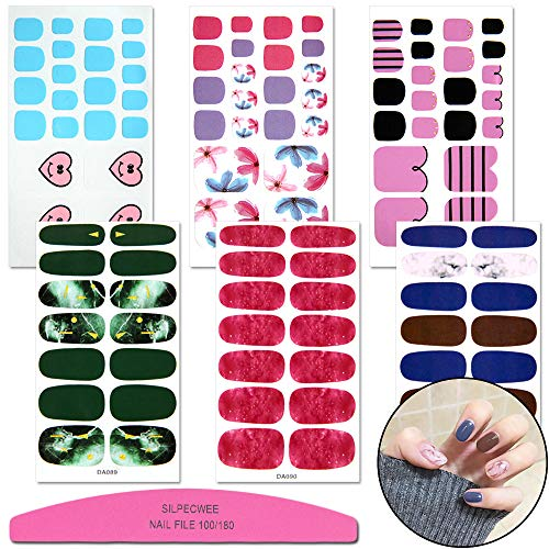 SILPECWEE 6 Sheets Adhesive Manicure Polish Wraps Stickers Strips Kit Marbling Design 3Pcs Nail Decals 3Pcs Toenail Decals Tips And 1Pc Nail File