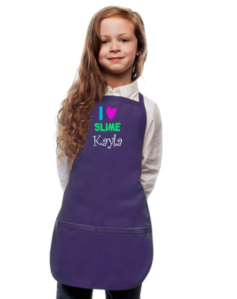 Personalized Purple Kids Slime Apron with I Love Slime Embroidery Design Extra Large