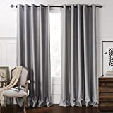 "IYUEGO Blackout Minimalist Grey Solid Embossed Grommet Top Lining Blackout Curtains Draperies With Multi Size Custom 72"" W x 96"" L (One Panel)"