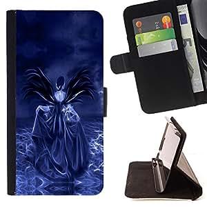- Purple Skull - - Prima caja de la PU billetera de cuero con ranuras para tarjetas, efectivo desmontable correa para l Funny HouseFOR Samsung Galaxy S5 Mini, SM-G800