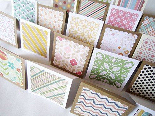 3'' x 3'' Mini Note Cards with Envelopes/Blank Note Cards/Thank you cards/Mini Thank You Enclosures/Assorted RANDOM Patterns/Set of 20 by HeartStreet