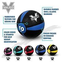 La pelota medicinal Valeo de 10 lb con construcción de goma resistente y acabado texturizado, ball ball incluye ejercicio gráfico de pared de ejercicios para entrenamiento de fuerza, entrenamiento pliométrico, entrenamiento de equilibrio y musculación