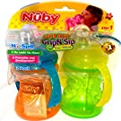 Nuby 2 Count 2 Handle Cup with No Spill Super Spout, Green/Orange