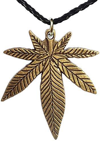 Bijoux De Ja Antique Bronze Pot Leaf Pendant Leatherette Braided Cord Necklace 16 Inches with 2 inches Extender