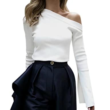 34702ff9086b OutTop Women's Long Sleeve Shirts Solid Color Blouse One Side Off Shoulder  Tops at Amazon Women's Clothing store:
