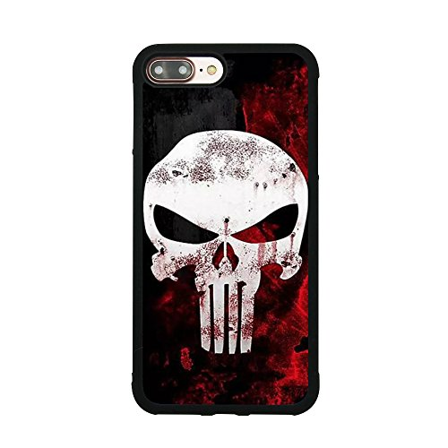 Punisher Skull Logo Case for iPhone 7 Plus/8 Plus (5.5 Inch) Comic TPU Silicone Gel Edge + PC Bumper Case Skin Protective Printed Phone Full Protection ()