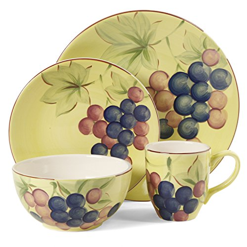Gibson Home 97976.16r Fruitful Harvest Grapes 16-Piece Dinnerware Set, Multi-Color
