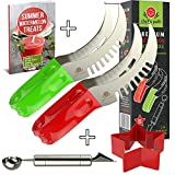 BEST WATERMELON SLICER As Seen On Tv, Melon Tongs Corer Server & Cake Cutter, Thickest Cutting Wire, Comfort Grip Handle, FREE Fun Star Shape Cutter & Bonus Ebook (Green and Red (2-Pack))