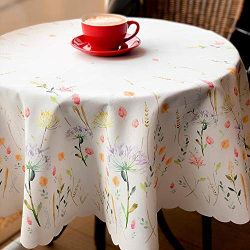 Non-iron Stain Resistant Table Cloth – Fashionable Table Cover Perfect for Home or Restaurants - 4 Colours Different Shapes Table Protection - Dining room (ECRU Easter tablecloth, Round 60