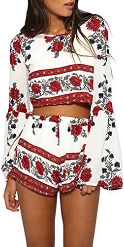 Ayliss, conjunto de 2 piezas, blusa corta con manga trompeta y pantalón corto de gasa, estilo bohemio, diseño floral, para mujer.