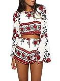 Ayliss Women 2PCS Chiffon Outfit Trumpet Sleeve Floral Bohemian Crop Tops+Shorts,S