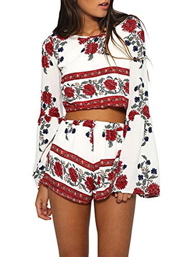 Ayliss Women 2PCS Chiffon Outfit Trumpet Sleeve Floral Bohemian Crop Tops+Shorts,S