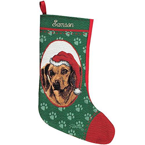 Personalized Dachshund Christmas Holiday Stocking - Santa's Pet Custom Dog Name