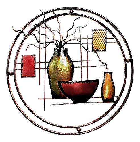 Bellaa 23569 Metal Wall Art Decor Abstract Plant Vases