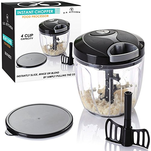 U.S. Kitchen Supply 4 Cup Instant Chopper Food Processor with Chopping & Mixing Blades - Slice, Mince, Chop or Blend Vegetables, Fruit, Nuts, Herbs, Onions and Salsas