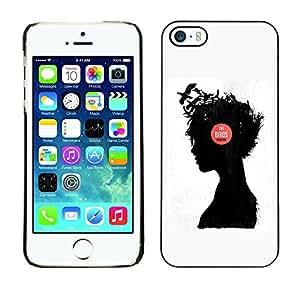 """For Apple iPhone 5 / 5S Case , Muchacha de la música Pensamiento Pensamiento Profundo Cuervo"""" - Diseño Patrón Teléfono Caso Cubierta Case Bumper Duro Protección Case Cover Funda"""