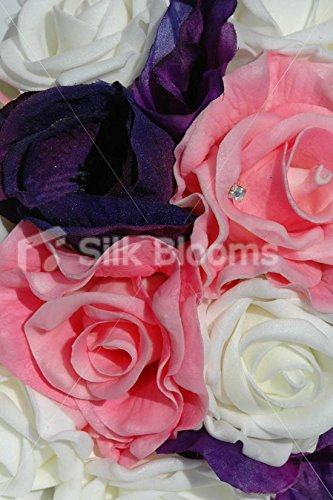 Pink-Purple-Ivory-Rose-Lisianthus-Anemone-Bridesmaid-Bouquet