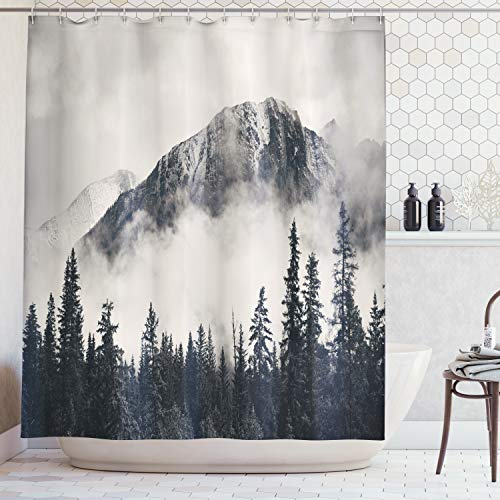 Ambesonne National Parks Home Decor Shower Curtain by, Canadian Smokey Mountain Cliff Outdoor Idyllic Photo Art, Fabric Bathroom Decor Set with Hooks, 70 Inches, Black and -