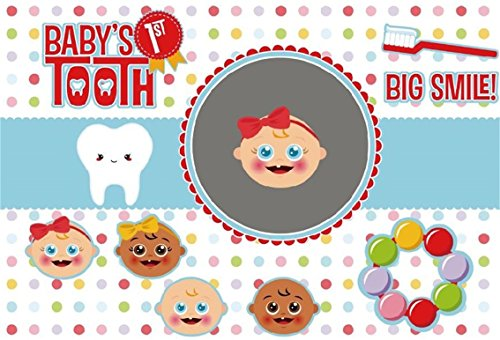 CSFOTO 7x5ft Background for Baby's 1st Tooth Birthday Party Decor Big Smile Photography Backdrop Happy Brush Teeth Cute Lovely Celebrations Ornament Child Kid Portrait Studio Props ()