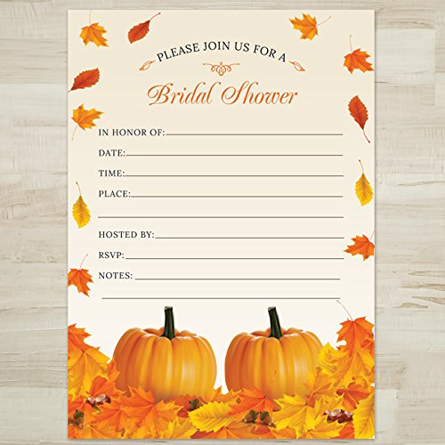 Wedding Fall Invitation Leaves (Rustic Fall Leaves Pumpkin Bridal Shower Invitation, 10 Fill-in Blank 5x7 Inch Invites and Envelopes)