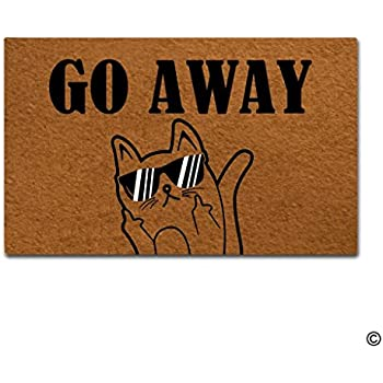 MsMr Funny Door Mat Go Away Cat Doormat Outdoor Indoor Mat Non-woven Fabric Top  sc 1 st  Amazon.com & Amazon.com : MsMr Entrance Floor Mat Funny Door Mat Fuck Off Cat ... pezcame.com