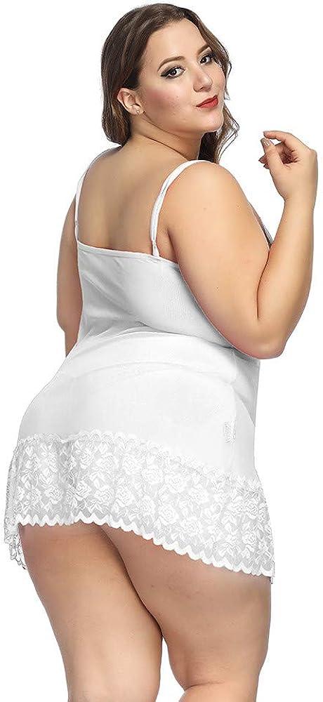 G-String Wenini Women Plus Size Sleeveless Lingerie Babydoll Lace V Neck Sleepwear Bowknot Chemise