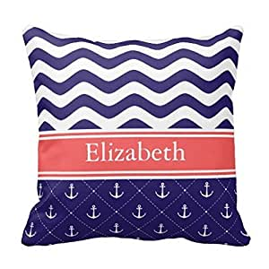 Standard Throw Pillow Inserts : Amazon.com: Throw Pillow Case for Sofa Standard Size with Zippers Navy Coral Anchor Chevron ...