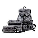 DGY Black Canvas School Backpack for Girls, Pencil Case & Lunch Bag 3pc Deal