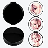 Melophy Rechargeable Lighted Travel Makeup Mirror, Compact Pocket Mirror with Lights and 10X 5X Magnification, Folding Handheld Round Cosmetic Mirror