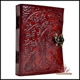 Genuine Leather Journal Wolf Embossed Writing Notebook Handmade Organizer Sketchbook Office Handbook Daily Notepad For Men & Women Lined Paper 120 Pages 5 x 7 inches