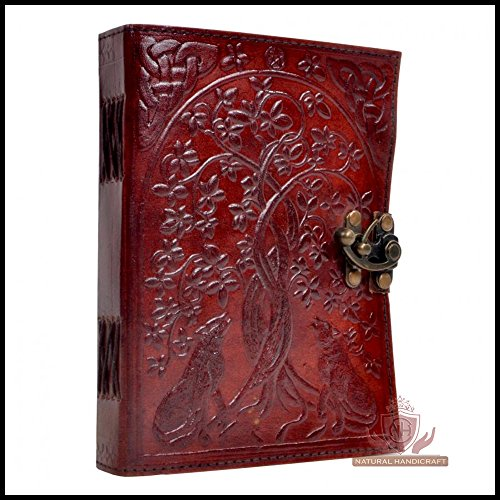 Genuine Leather Journal Wolf Embossed Writing Notebook Handmade Organizer Sketchbook Office Handbook Daily Notepad For Men & Women Lined Paper 120 Pages 5 x 7 (Designer Natural)
