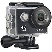 Action Camera NTSE Ultra HD 4K WiFi Sport Camera 1080P/60fps 2.0 LCD 170D Lens Helmet Cam Go Waterproof Pro Camera 30m Waterproof Cameras (Black)