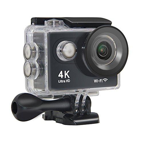 Action Camera NTSE Ultra HD 4K WiFi Sport Camera 1080P/60fps 2.0 LCD 170D Lens Helmet Cam Go Waterproof Pro Camera 30m Waterproof Cameras (Black)