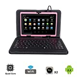 Tagital 7'' Quad Core Android 4.4 KitKat Tablet PC, Dual Camera, Play Store Pre-installed, 2017 Newest Model Bundled with Keyboard (Pink)