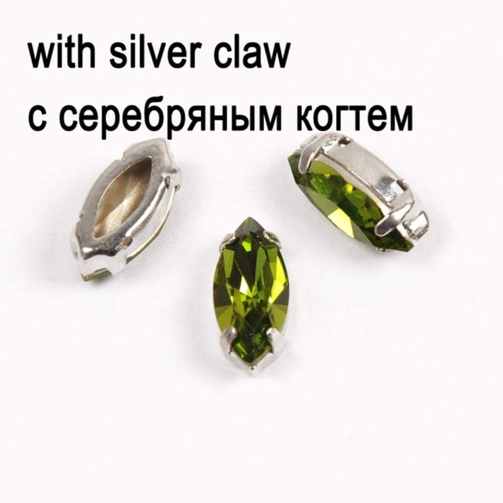 Olivine Strass Silver Gold Base Coser En Piedra con Garras Enchapadas Configuración Chatons Crystal Glass Stones Vestido Decoración, Cristal con Plata, 4X8Mm-45Pcs