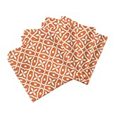 Roostery Mosaic Tile Organic Sateen Dinner Napkins Mosaic - Orange by Inscribed Here Set of 4 Cotton Dinner Napkins Made