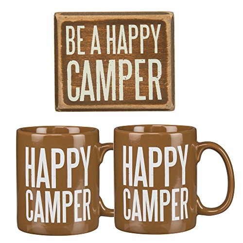 Be A Happy Camper Gift Set - Decorative Box Sign and Two Jumbo 20-oz Coffee Tea Mugs