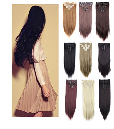 3-5 Day Fast Delivery Double Weft Thick Full Head 8Peices 18 Clips Straight Wavy Hair Clip In Hair Extensions Women Lady Hairpiece Girls 8pcs clip on hairstyles