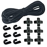 1/4'' x 25' Elastic Shock Cords + 6 PCS J-hooks + 6 PCS Cross Rope Hooks for Kayak, Canoe, Paddle Board and Bungee Cord