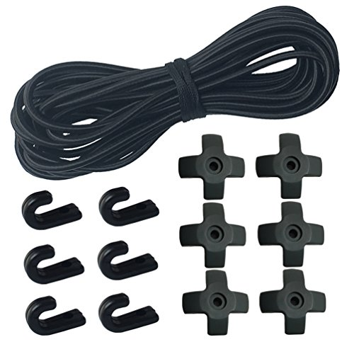 1/4'' x 25' Elastic Shock Cords + 6 PCS J-hooks + 6 PCS Cross Rope Hooks for Kayak, Canoe, Paddle Board and Bungee Cord by Huouo