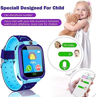 bhdlovely Smartwatch Niños Reloj Inteligente para Niños LBS Pantalla Táctil Llamada SOS Juguete de Regalo de Cumpleaños para Niño Niña Azul S9