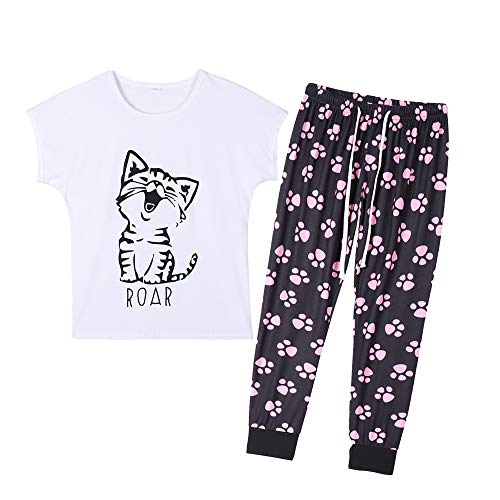 YIJIU Women's Cute Cartoon Cat Sleepwear Short Sleeve Top Pants Pajama Set