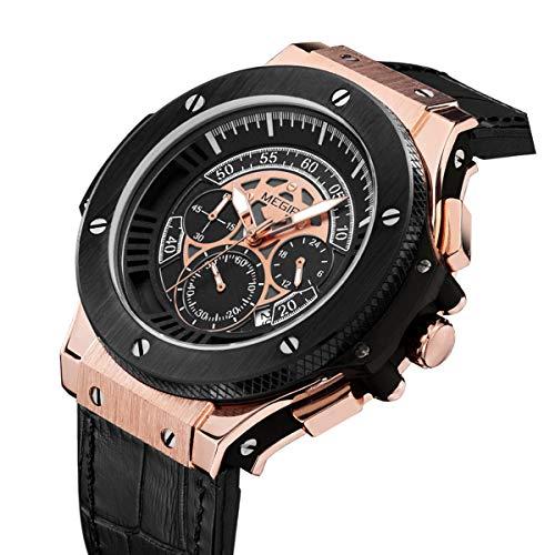 MEGIR Men Wrist Watch Waterproof Chronograph Analog Leather Watch Luminous Hands Gold Black