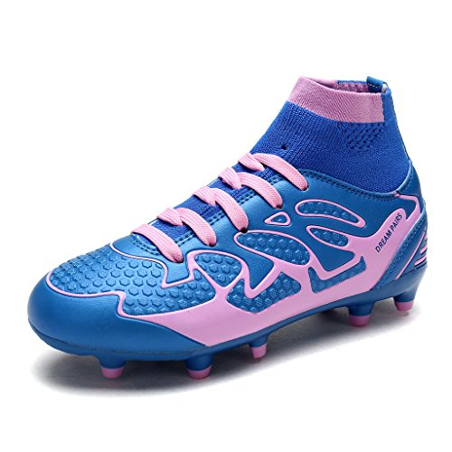 DREAM PAIRS Little Kid 160858-K Blue Pink Fashion Soccer Football Cleats Shoes Size 12 M US Little - Soccer Pink Cleats Girls