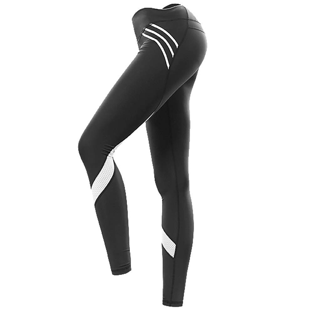 d1b459d42b6 Womens Workout Leggings Compression Yoga Pants with High Waist Streamlined  Design Fitness Sports Gym Running Pants (Black, US S / Tag M)