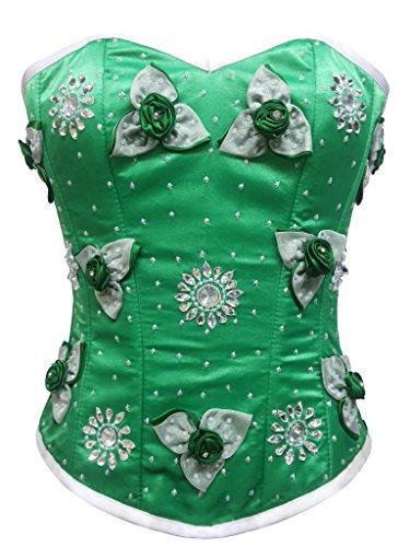 品種レバー空港Green Satin Flower Sequins Goth Burlesque Waist Cincher Bustier Overbust Corset