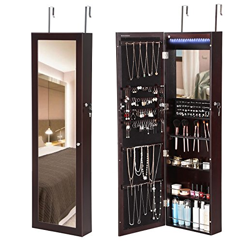 SONGMICS 18 LEDs Mirrored Jewelry Cabinet Lockable Wall Door Mount Makeup Armoire Organizer with 13 Brush Holders and Inside Mirror Brown UJJC85K by SONGMICS